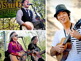 Clockwise from top left: Elliott Brood's Mark Sasso, Jake Shimabukuro and Jim Lauderdale