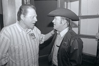 Meaux (l) and Doug Sahm at the 1989 Austin Music Awards