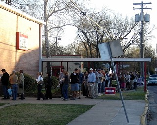 Okay, the lines at the ballot boxes don't quite look like this scene from 2008, but turnout is up from May.