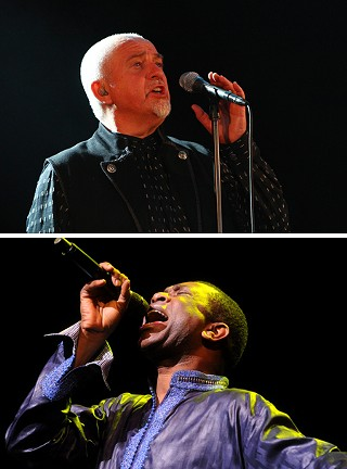 Peter Gabriel (top, photo by Jay West); Youssou N'Dour (photo by John Anderson)