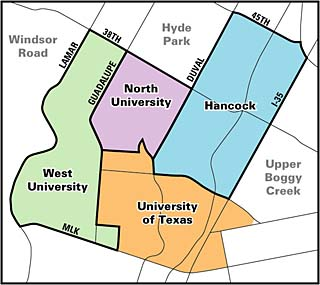 The Central Austin combined effort covers three neighborhood planning areas, which themselves include six registered NAs. The adjacent Hyde Park and Upper Boggy Creek neighborhood plans were adopted in 2001 and 2002; Windsor Road, to the west, has yet to begin planning.