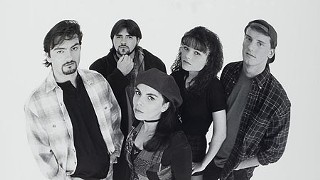 Brian O'Halloran (far left) with the cast of <i>Clerks</i>