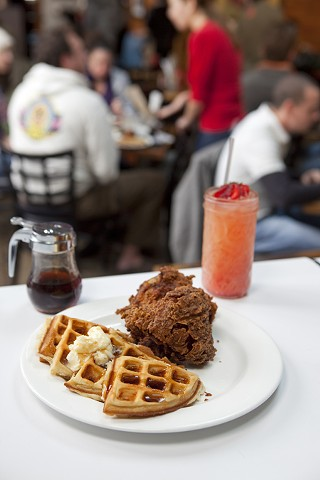 Chicken and waffles at Frank