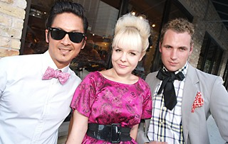(l-r) Fashionistas Ricky Hodge, Jenny Woys, and Hunter Lohse at the grand opening of Edge Boutique, a new men's store