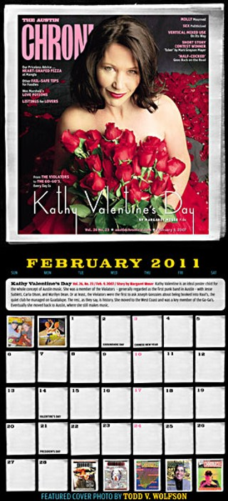 Kathy Valentine's first proper appearance in the <i>Chronicle</i> became part of the paper's promotional calendar.