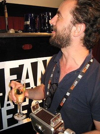 'Bullhead' director Michael R. Roskam with his Fantastic Fest Award victory bubbly