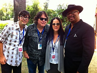 Brandy, please: (l-r) Noel Waggener, Mike Buck, Charisse Kelly, and Dallas blues burner  Rev. KM Williams in France for July's Cognac Blues Passions Festival
