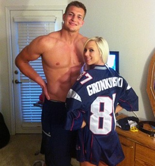 Rob Gronkowski and Bibi Jones in the infamous, yet SFW, Twitter pic