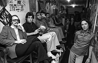 The post-Vaughan years: (l-r) Denny Freeman, Rodney Craig, Bob Dolgan, Joe Sublett, Larry Lange, and Paul Ray at Cat Man's Shoeshine Parlor, 1978
