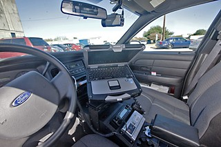 A police cruiser outfitted with the new digital video system