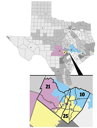 The new interim congressional map splits Travis three ways as opposed to the GOP's five-way split and gives Lloyd Doggett a more Travis-based CD 25. Doggett's onetime Democratic opponent state Rep. Joaquin Castro is now running for a CD 20 seat based in his hometown of San Antonio.