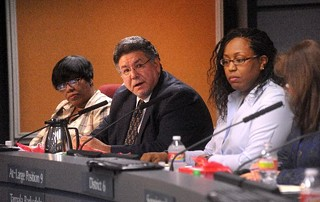 AISD Trustees Cheryl Bradley, Sam Guzman, Tamala Barksdale and Lori Moya