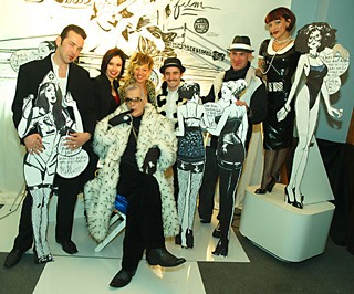 At the Same Sky Productions NYE party, on the Girls on Film set designed by Jaclyn Havlak and the Art Department. Center front is Your Style Avatar in spiky fur, and in the back row (l-r): Dave Wolfe and his wife, Eva Strangelove; Erin Havlak; Sure Karns; Mitch Schultz; and Jacki Oh.