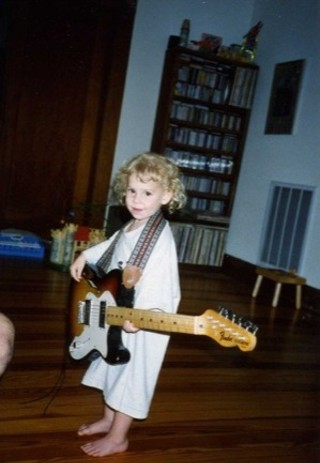 Two years old in Georgetown with one of my dad's guitars!