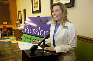 Laura Pressley at her Jan. 20 campaign announcement