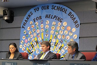 (l-r) AISD Superintendent Meria Carstarphen, AISD Board President Mark Williams, and Vice President Vince Torres, at the Jan. 30 meeting