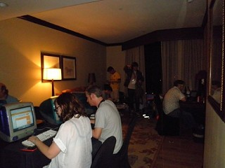 That's me on the left in the white tee, filing a review at the paper's SXSW HQ at the Omni.