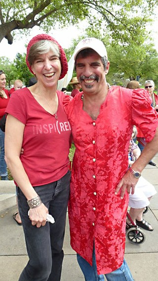 Marcia Ball's brother Vance Mouton showed up in a red dress in support of Seeing Red. And I thought <i>I</i> had the only brother who would do that!