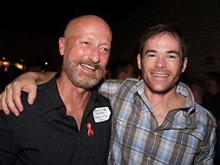 Two of Austin's best fundraisers, Lew Aldridge and David C. Smith.  Two of my favorite fundraising events make for a sure sign of spring: the Octopus Club's Art Erotica is this Saturday, April 7 (<a href=http://www.octopusclub.org/ArtErotica>www.octopusclub.org/ArtErotica</a>), and the Hill Country Ride for Aids is on April 28 (<a href=http://www.hillcountryride.org/>www.hillcountryride.org</a>).