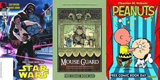 A selection of 2012's Free Comic Book Day titles: 'Star Wars', 'Mouse Guard' and 'Peanuts'. Don't worry, there are super heroes too.