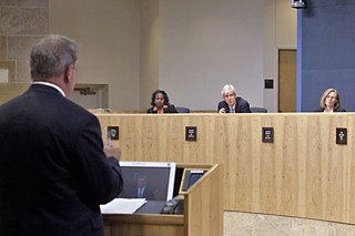 Austin Energy GM Larry Weis addresses City Council members Sheryl Cole, Bill Spelman, and Laura Morrison