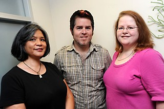 Austin Gay and Lesbian Chamber of Commerce members Ceci Gratias (l), Jimmy Flannigan, and Amy R. Cook