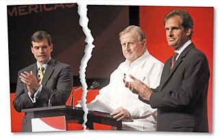 Before their relationship began to publicly unravel, (l-r) Tavo Hellmund, Red McCombs, and Bobby Epstein appeared together at an April 2011 press conference for the unveiling of the Circuit of the Americas name.