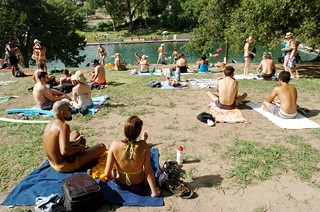 Barton Springs' south lawn is a good place to hang out.