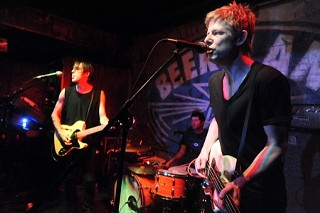 Britt Daniel (right), with the Divine Fits at Beerland, 8.1.12