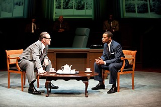 Lyndon Johnson (Jack Willis) and the Rev. Martin Luther King (Kenajuan Bentley) argue about voting rights