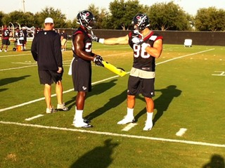 Connor Barwin showing Whitney Mercilus the ropes