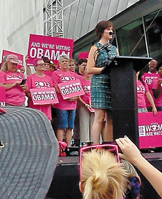 Sandra Fluke addresses the crowd at a Planned Parenthood rally on Tuesday.