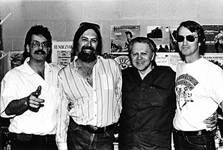 ARC of the Covenant: (l-r) <i>Goldmine</i> magazine's John Koenig, with garage rock immortal Augie Meyer, infamous producer Huey Meaux, and Doug Hanners at the 1985 Austin Record Convention.