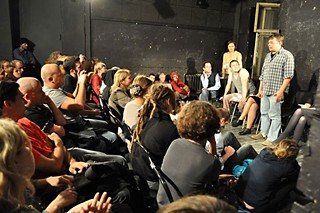 Playwright Maksym Kurochkin during a discussion at Lyubimovka
