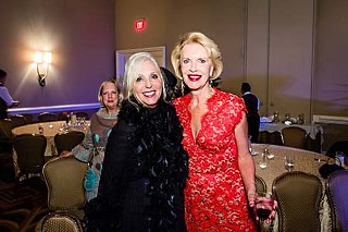 Kappie Bliss (l), wearing Made in Heaven 2012-14, poses with the fabulous-at-60 Becky Beaver at Becky's star-studded birthday party for 1,200 of her closest friends.
