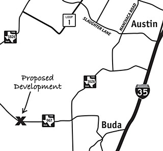 Site of a proposed development that seeks to irrigate treated sewage in the Edwards Aquifer recharge zone, adjacent to city-owned lands acquired for water quality protection.
