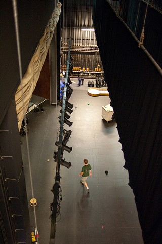 Fly's-eye-view – inside the 70-foot-tall fly tower in which set pieces may be raised and stored when not in use.
