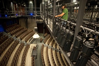 The view from above: A network of catwalks above the auditorium seats makes for easy access to the lighting instruments that illuminate the stage.