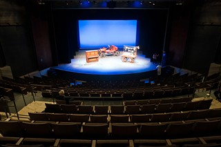 The view from the back row of the James C. Armstrong Family Auditorium, looking at the Karen Kuykendall stage. The dearly departed actress' ashes are at center stage.