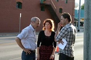 Writer/director Berndt Mader (right) on location with stars Jon Gries and Dana Wheeler-Nicholson