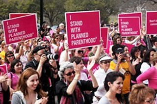 Planned Parenthood supporters rally at the Capitol in March 2011