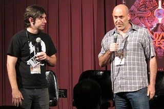 Alamo booker Zack Carlson and 'Universal Soldier: Day of Reckoning' director John Hyams at Fantastic Fest