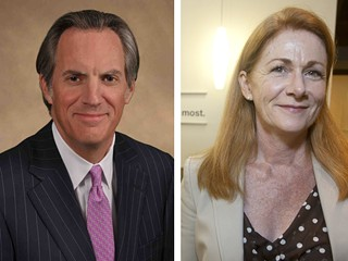 Left: St. David's president and CEO David Huffstutler called the Prop. 1 funding mechanism a shell game. Right: Central Health CEO Patricia Young Brown, through a spokesman, said St. David's failed to commit to financial terms for a medical school partnership.
