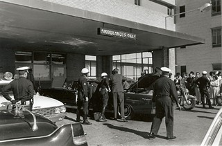 Photo of Parkland Hospital on 11/22/63 by presidential photographer Cecil W. Stoughton