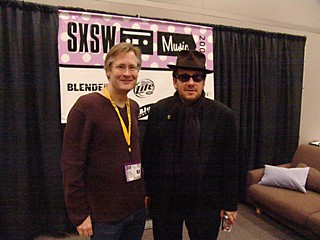Brent Grulke (l) and Elvis Costello at SXSW 2005