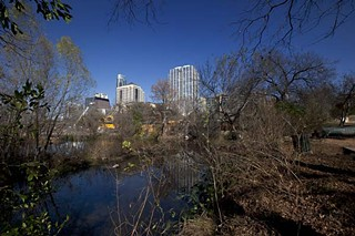 "The point where Waller Creek flows into Lady Bird Lake, future site of the ""Lattice."""