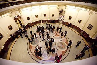 A view of the rotunda &#10;on opening day of the 83rd Legislature. See <a href=http://www.austinchronicle.com/news/2013-01-11/lege-opening-day-users-and-abusers/>Lege Opening Day: Users and Abusers</a> and our <a href=http://www.austinchronicle.com/photos/83rd-texas-legislature-opening/>photo gallery</a>.