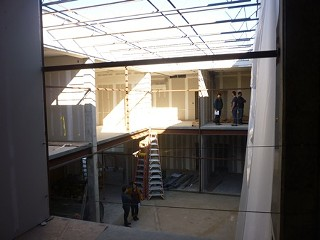 Looking up the breezeway toward the Canopy's Buildings 2 and 1, from the front of the designated cafe space in Building 3