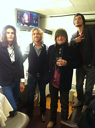 Up against the green room, Redneck Mother: (l-r) John Michael Schoepf, Kyle Schneider, Ray Wylie Hubbard, and Lucas Hubbard backstage at Letterman