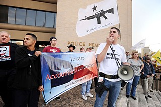 A gun rights rally outside 